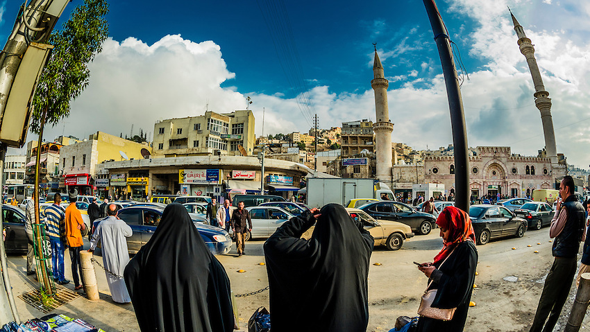 Street scene with Grand Husseini Mosque  in background, Downtown Amman, Jordan.