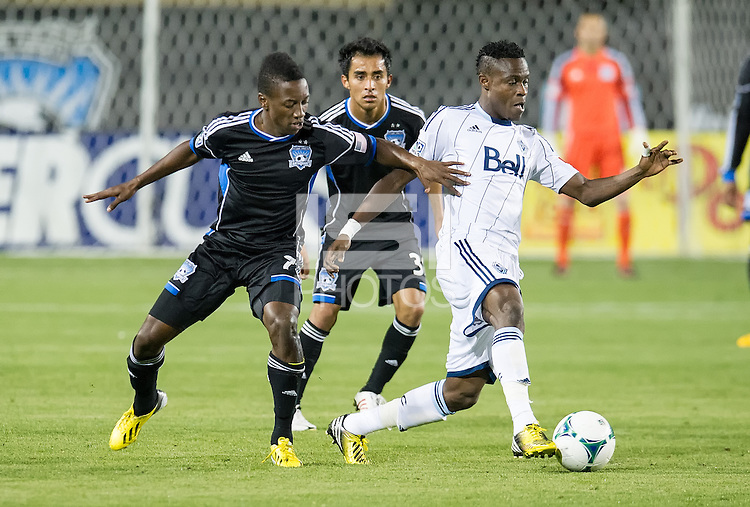 SANTA CLARA, CA - April 6, 2013: San Jose Earthquakes vs Vancouver Whitecaps FC game at Buck Shaw Stadium in Carson, California. Final score San Jose Earthquakes 1, Vancouver Whitecaps FC 1.