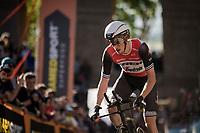 Michael Gogl (AUT/Trek-Segafredo) up the very steep part up San Luca climb<br /> <br /> Stage 1 (ITT): Bologna to Bologna/San Luca (8.2km)<br /> 102nd Giro d'Italia 2019<br /> <br /> ©kramon
