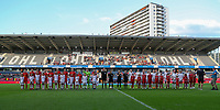 20190829 - LEUVEN , BELGIUM : Belgian Women's National team and England's Women's National team are pictured before the female soccer game between the Belgian Red Flames and England , The Lionesses , a friendly womensoccer game in the preparation for the European Championship qualification round in group H for England 2021, Tuesday 29 th August 2019 at the King Power Stadion Den Dreef in Leuven , Belgium. PHOTO SPORTPIX.BE | SEVIL OKTEM