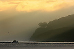 Small fishing boat sails close to Angel Island on the San Francisco Bay during sunrise, California.