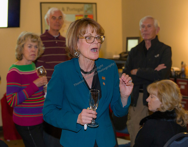 """Rebecca Davidson speaks during the Reno Magazine """"Bubbles Tasting"""" event at Total Wine in Reno on Friday night, February 9, 2018."""