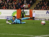 Jamie Langfield watching the ball head towards his goal in the Aberdeen v St Mirren Scottish Communities League Cup match played at Pittodrie Stadium, Aberdeen on 30.10.12.