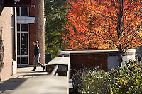 Fall leaves with McCool exterior<br />  (photo by Megan Bean / &copy; Mississippi State University)