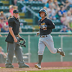 12 July 2015: West Virginia Black Bears designated hitter Ulises Montilla comes home to score against the Vermont Lake Monsters at Centennial Field in Burlington, Vermont. The Lake Monsters rallied to defeat the Black Bears 5-4 in NY Penn League action. Mandatory Credit: Ed Wolfstein Photo *** RAW Image File Available ****