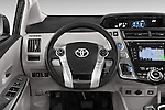 Car pictures of steering wheel view of a 2015 Toyota Prius v Four 4 Door Hatchback Steering Wheel