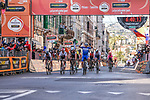 Julian Alaphilippe (FRA) Deceuninck-Quick Step wins with Oliver Naesen (BEL) AG2R La Mondiale 2nd and Michal Kwiatkowski (POL) Team Sky in 3rd place at the end of the 110th edition of Milan-San Remo 2019 running 291km from Milan to San Remo, Italy. 23rd March 2019.<br /> Picture: LaPresse/Marco Alpozzi | Cyclefile<br /> <br /> <br /> All photos usage must carry mandatory copyright credit (© Cyclefile | LaPresse/Marco Alpozzi)