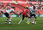 Paul Huntingdon of Preston North End in action with Britt Assombalonga of Middlesbrough during the Sky Bet Championship match at the Riverside Stadium, Middlesbrough. Picture date: August 26th 2017. Picture credit should read: Jamie Tyerman/Sportimage