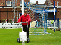 Gainsborough Trinity groundsman marks out the pitch at the Martin &amp; Co Arena<br /> <br /> Photographer Andrew Vaughan/CameraSport<br /> <br /> Pre-Season Friendly - Gainsborough Trinity v Lincoln City - Saturday 15th July 2017 - The Gainsborough Martin &amp; Co Arena - Gainsborough<br /> <br /> World Copyright &copy; 2017 CameraSport. All rights reserved. 43 Linden Ave. Countesthorpe. Leicester. England. LE8 5PG - Tel: +44 (0) 116 277 4147 - admin@camerasport.com - www.camerasport.com