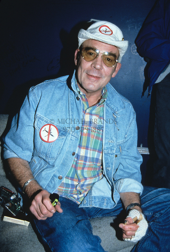 Hunter S. Thompson at a voter registration rally in Aspen, CO on 11/7/95. © Michael Brands. 970-379-1885.