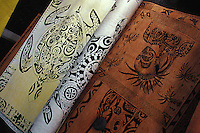 Tapa cloth traditional tree bark arts and crafts of the Marqueasas Islands, French Polynesia