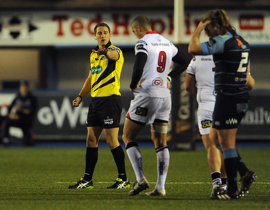 Referee Andrew Brace in action during todays match<br /> <br /> Photographer Ian Cook/CameraSport<br /> <br /> Guinness PRO12 Round 10 - Cardiff Blues v Ulster Rugby - Saturday 3rd December 2016 - Cardiff Arms Park - Cardiff<br /> <br /> World Copyright &copy; 2016 CameraSport. All rights reserved. 43 Linden Ave. Countesthorpe. Leicester. England. LE8 5PG - Tel: +44 (0) 116 277 4147 - admin@camerasport.com - www.camerasport.com