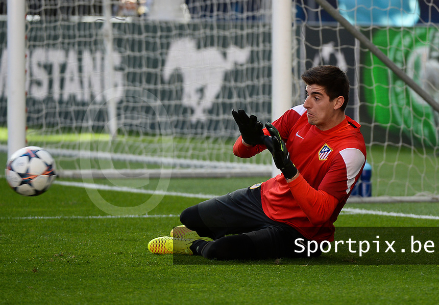 20140523 - LISBON , PORTUGAL : Belgian Atletico Goalkeeper Thibaut Courtois pictured during the Matchday - 1 training session with his team Atletico Madrid prior to the Champions League final between Real Madrid CF and Club Atletico de Madrid on Friday 23 May 2014 in Estadio Da Luz in Lisbon .  PHOTO DAVID CATRY