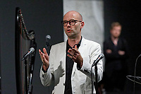"Pictured: Gallerist Peter Bernaerts. Saturday 21 September 2019<br /> Re: Concert for the exhibition of ""No More Shall We Part, 14 Paintings, 17 Years Later"", a collection of paintings based on the Nick Cave and the Bad Seeds album with the same name, by Stefanos Rokos at Bernerts Gallery in Antwerp, Belgium."
