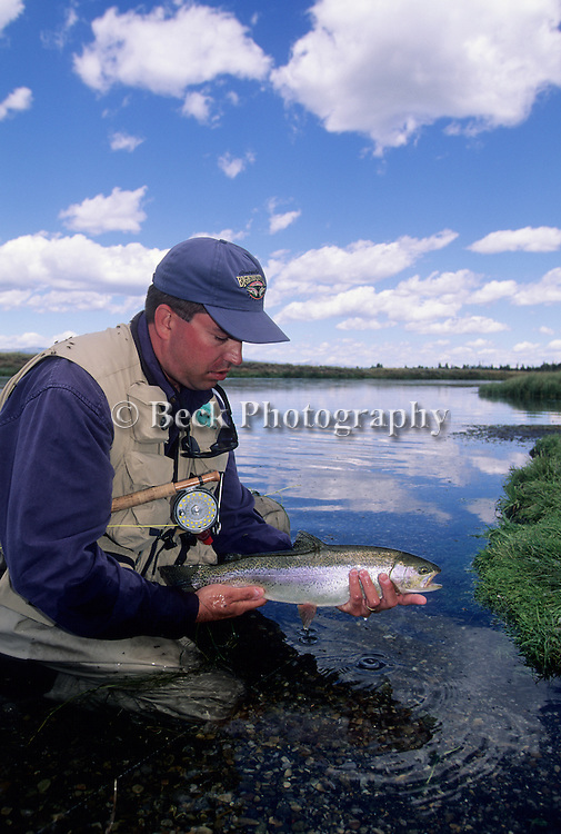 Joe Macus with a rainbow trout from Wood Road 16, Hanry's Fork, ID
