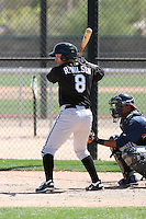 Ross Wilson #8 of the Chicago White Sox hits a homerun in a minor league spring training game against the Cleveland Indians at the White Sox complex on March 24, 2011 in Glendale, Arizona. .Photo by:  Bill Mitchell/Four Seam Images.