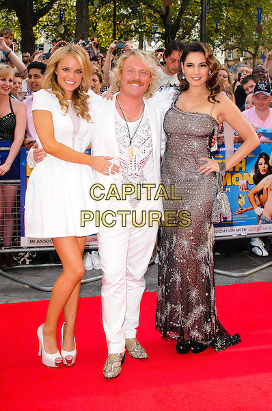 Rosie Parker , Leigh Francis as Keith Lemon and Kelly Brook.World Premiere of 'Keith Lemon: The Film' at the Odeon West End, Leicester Square, London, England..August 20th 2012.full length white suit feathers epaulettes snakeskin shoes dress one shoulder grey gray lace sparkly moustache mustache facial hair hand on hip .CAP/CJ.©Chris Joseph/Capital Pictures.