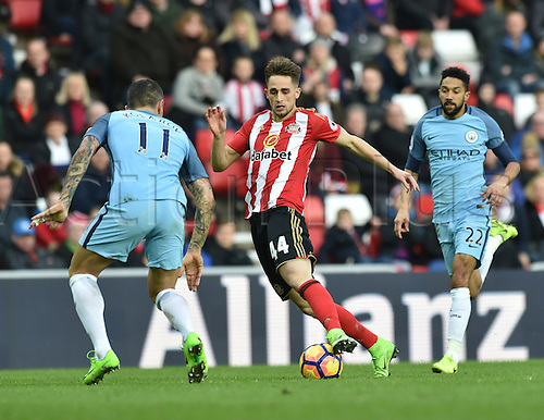 March 5th 2017, Stadium of Light, Sunderland, England; EPL Premier league football, Sunderland FC versus Manchester City; Adnan Januzaj of Sunderland controls the ball covered by Aleksandar Kolarov of Manchester City
