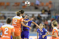 Houston, TX - Saturday June 17, 2017: Amber Brooks, Carli Lloyd, and Alanna Kennedy go up for a header  during a regular season National Women's Soccer League (NWSL) match between the Houston Dash and the Orlando Pride at BBVA Compass Stadium.