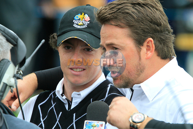 Rory McIlroy and Graeme McDowell win their match on the 17th green in the Session 3 Foursomes and Fourball Matches during Day 3 of the The 2010 Ryder Cup at the Celtic Manor, Newport, Wales, 3rd October 2010..(Picture Eoin Clarke/www.golffile.ie)