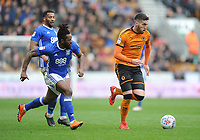 Birmingham City's Jacques Maghoma battles with Wolverhampton Wanderers' Matt Doherty<br /> <br /> Photographer Ashley Crowden/CameraSport<br /> <br /> The EFL Sky Bet Championship - Wolverhampton Wanderers v Birmingham City - Sunday 15th April 2018 - Molineux - Wolverhampton<br /> <br /> World Copyright &copy; 2018 CameraSport. All rights reserved. 43 Linden Ave. Countesthorpe. Leicester. England. LE8 5PG - Tel: +44 (0) 116 277 4147 - admin@camerasport.com - www.camerasport.com