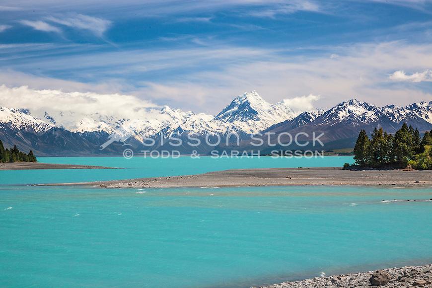 Aoraki / Mount Cook, from east Lake Pukaki,New Zealand - stock photo, canvas, fine art print