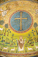 Detail of the Apse Mosaics with a simple Orthodox crucifix and a depiction of St. Apollinare. 6th century AD Byzantine Roman Mosaics of the Basilica of Sant'Apollinare in Classe, Ravenna Italy. A UNESCO World Heritage Site.
