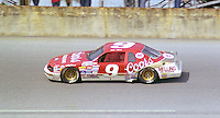 Bill Elliott 9 Ford Thuderbird action Daytona 500 at Daytona International Speedway in Daytona Beach, FL in February 1986. (Photo by Brian Cleary/www.bcpix.com) Daytona 500, Daytona International Speedway, Daytona Beach, FL, February 16, 1986.  (Photo by Brian Cleary/www.bcpix.com)