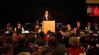 STANFORD, CA - DECEMBER 7, 2014--Stanford Football coach David Shaw, during the Football team banquet.