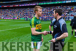 Fionn Fitzgerald and Referee Paddy Neilan. Kerry v Dublin at the National League Final in Croke Park on Sunday.