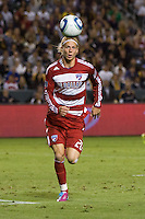 Forward for FC Dallas Brek Shea moves to the ball. FC Dallas defeated the LA Galaxy 3-0 to win the Western Division 2010 MLS Championship at Home Depot Center stadium in Carson, California on Sunday November 14, 2010.