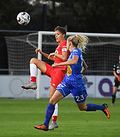20190823 – OOSTAKKER, BELGIUM : Gent's Tine Schryvers (R) and Standard's Maurane Marinucci (L)  pictured during a women soccer game between AA Gent Ladies and Standard Femina de Liege on the first matchday of the Belgian Superleague season 2019-2020 , the Belgian women's football  top division , friday 23 th August 2019 at the PGB Stadium Oostakker in Gent  , Belgium  .  PHOTO SPORTPIX.BE | DIRK VUYLSTEKE
