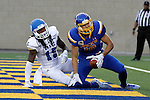 BROOKINGS, SD - SEPTEMBER 10:  Jake Wieneke #19 from South Dakota State looks to the official after catching a touchdown pass in front of Jabari Butler #15 from Drake during their game at the Dana J. Dykhouse Stadium Saturday night in Brookings. (Photo by Dave Eggen/Inertia)