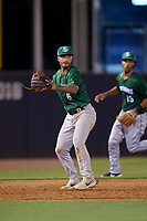 Daytona Tortugas third baseman Jonathan India (6) throws to first base as shortstop Jose Garcia (13) backs up the play during a Florida State League game against the Tampa Tarpons on May 17, 2019 at George M. Steinbrenner Field in Tampa, Florida.  Daytona defeated Tampa 8-6.  (Mike Janes/Four Seam Images)