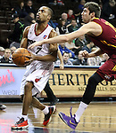 SIOUX FALLS, SD - FEBRUARY 11:  Tre Kelley #7 from the Sioux Falls Skyforce drives past the reach in foul from Sergey Karasev #17 of the Canton Charge in the first quarter of their game Tuesday night at the Sanford Pentagon. (Photo by Dave Eggen/Inertia)