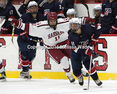 Ty Pelton-Byce (Harvard - 11), Jacob Tortora (NTDP - 11) - The Harvard University Crimson defeated the US National Team Development Program's Under-18 team 5-2 on Saturday, October 8, 2016, at the Bright-Landry Hockey Center in Boston, Massachusetts.