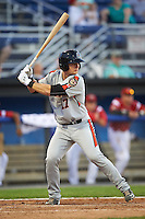 Aberdeen Ironbirds designated hitter Chris Shaw (17) at bat during a game against the Batavia Muckdogs on July 14, 2016 at Dwyer Stadium in Batavia, New York.  Aberdeen defeated Batavia 8-2. (Mike Janes/Four Seam Images)