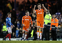Blackpool's Ben Heneghan celebrates victory at the end of the match<br /> <br /> Photographer Andrew Kearns/CameraSport<br /> <br /> The EFL Sky Bet League One - Portsmouth v Blackpool - Saturday 12th January 2019 - Fratton Park - Portsmouth<br /> <br /> World Copyright © 2019 CameraSport. All rights reserved. 43 Linden Ave. Countesthorpe. Leicester. England. LE8 5PG - Tel: +44 (0) 116 277 4147 - admin@camerasport.com - www.camerasport.com