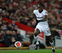 24th February 2020; Anfield, Liverpool, Merseyside, England; English Premier League Football, Liverpool versus West Ham United; Michail Antonio of West Ham United sprints down the wing with the ball