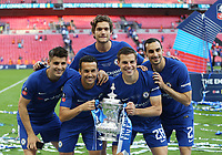 Chelsea's Alvaro Morata, Pedro, Marcos Alonso, Cesar Azpilicueta and Davide Zappacosta with the trophy<br /> <br /> Photographer Rob Newell/CameraSport<br /> <br /> Emirates FA Cup Final - Chelsea v Manchester United - Saturday 19th May 2018 - Wembley Stadium - London<br />  <br /> World Copyright &copy; 2018 CameraSport. All rights reserved. 43 Linden Ave. Countesthorpe. Leicester. England. LE8 5PG - Tel: +44 (0) 116 277 4147 - admin@camerasport.com - www.camerasport.com