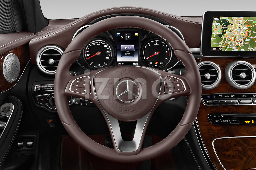 Car pictures of steering wheel view of a 2016 Mercedes Benz GLC Launch Edition 5 Door Suv Steering Wheel