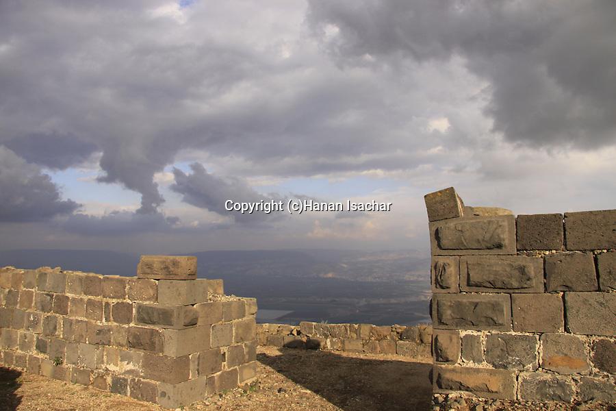 Israel, Lower Galilee, Crusader fortress Belvoir overlooking the Jordan Valley