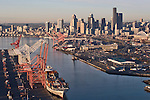 Seattle, skyline, aerial, container ship, container port, Port of Seattle, Asian trade, Elliott Bay, Puget Sound, downtown, Washington State, Pacific Northwest, North America, East Waterway,