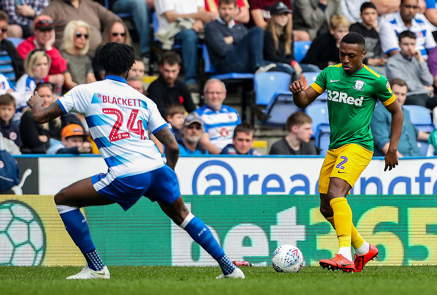 Preston North End's Darnell Fisher competing with Reading's Tyler Blackett <br /> <br /> Photographer Andrew Kearns/CameraSport<br /> <br /> The EFL Sky Bet Championship - Reading v Preston North End - Saturday 30th March 2019 - Madejski Stadium - Reading<br /> <br /> World Copyright © 2019 CameraSport. All rights reserved. 43 Linden Ave. Countesthorpe. Leicester. England. LE8 5PG - Tel: +44 (0) 116 277 4147 - admin@camerasport.com - www.camerasport.com