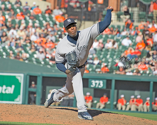 New York Yankees relief pitcher Aroldis Chapman (54) works a perfect ninth inning to seal his team's victory over the Baltimore Orioles at Oriole Park at Camden Yards in Baltimore, MD on Sunday, April 9, 2017.  The Yankees won the game 7 - 3. <br /> Credit: Ron Sachs / CNP<br /> (RESTRICTION: NO New York or New Jersey Newspapers or newspapers within a 75 mile radius of New York City)