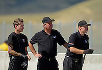 Jul, 21, 2012; Morrison, CO, USA: NHRA crew members for top fuel dragster driver Steve Torrence during qualifying for the Mile High Nationals at Bandimere Speedway. Mandatory Credit: Mark J. Rebilas-