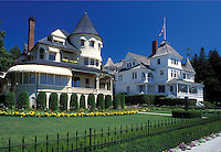 Mackinac Island, MI, Lake Huron, Michigan, Historic homes along West Bluff on Mackinac Island.