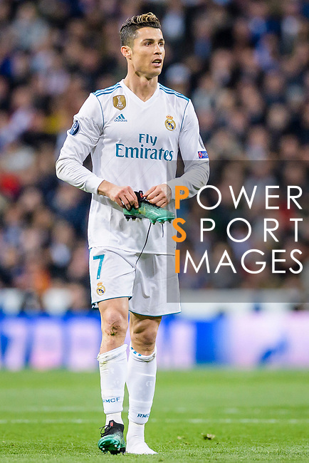 Cristiano Ronaldo of Real Madrid reacts during the UEFA Champions League 2017-18 quarter-finals (2nd leg) match between Real Madrid and Juventus at Estadio Santiago Bernabeu on 11 April 2018 in Madrid, Spain. Photo by Diego Souto / Power Sport Images