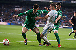 Real Madrid Lucas Vazquez and Leganes Unai Bustinza and Roberto Roman Tito during King's Cup match between Real Madrid and Leganes at Santiago Bernabeu Stadium in Madrid, Spain. January 24, 2018. (ALTERPHOTOS/Borja B.Hojas)