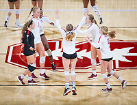 STANFORD, CA - October 12, 2018: Tami Alade, Kathryn Plummer, Morgan Hentz, Meghan McClure, Jenna Gray, Kate Formico at Maples Pavilion. No. 2 Stanford Cardinal swept No. 21 Washington State Cougars, 25-15, 30-28, 25-12.